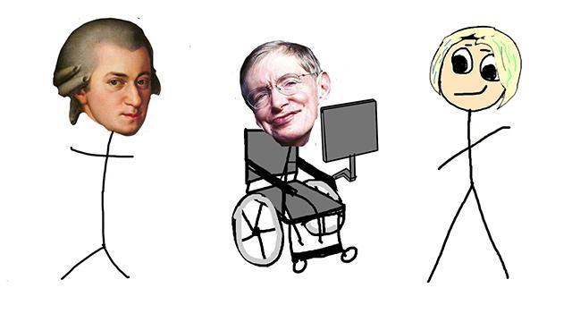 モーツァルト、ホーキング博士は天才とよばれる