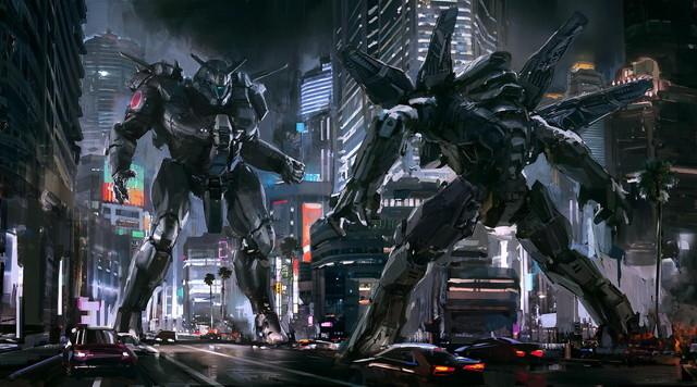 二体のロボットが激突?