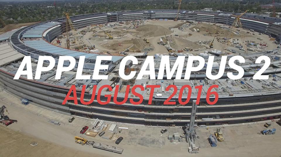 ドローンで見る、アップル新本社工事の進捗。また育ってます
