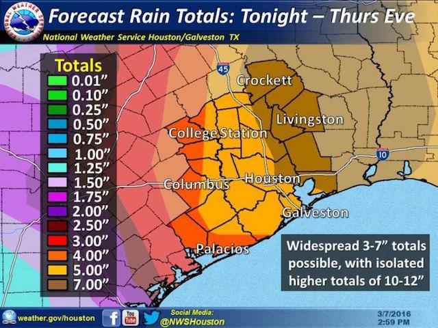 米国立気象局(NWS)によるヒューストン地域の予想雨量
