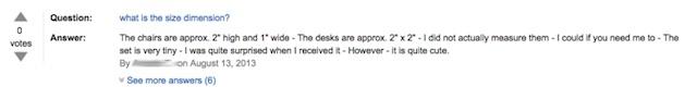 「机と椅子が1000円!」→ミニチュアでした、で米Amazonのレビューが燃え続ける4