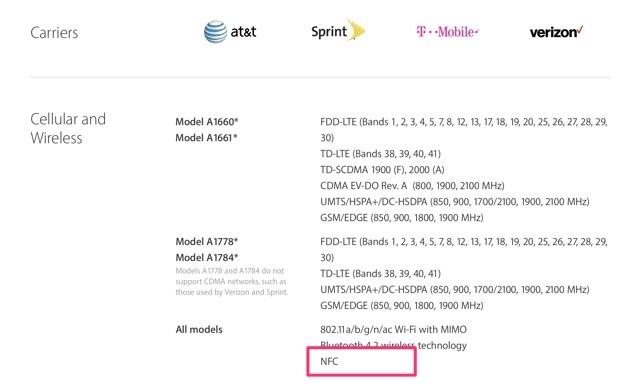 米国AppleのiPhone 7の仕様ページ