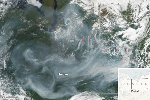 シベリアの山火事 煙がロシアを覆う