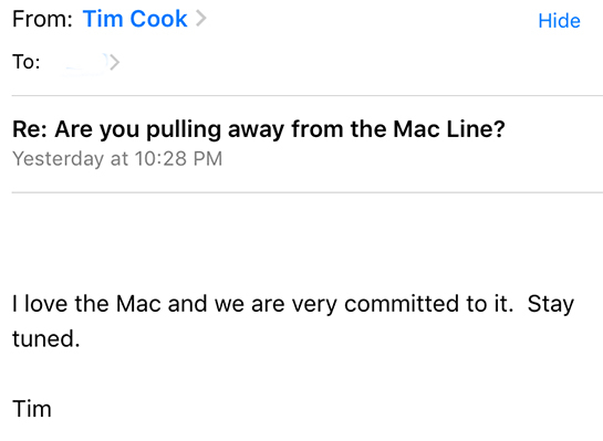 ティム・クックからのメール