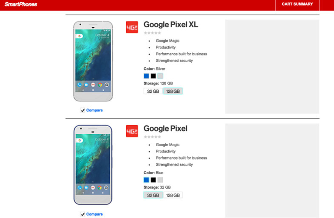 VerizonがGoogleの新スマホ「Pixel」をフライング表示。詳細には「Google Magic」の表記が…