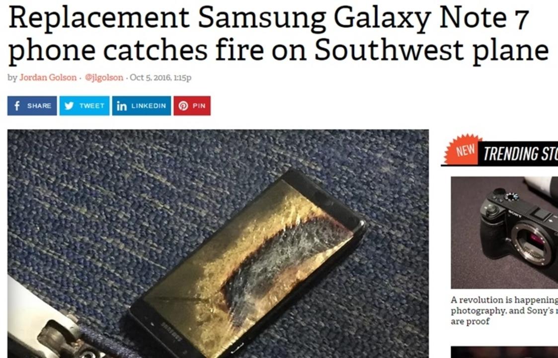 交換後のGalaxy Note 7が機内で燃え緊急避難。2度目のリコールか…