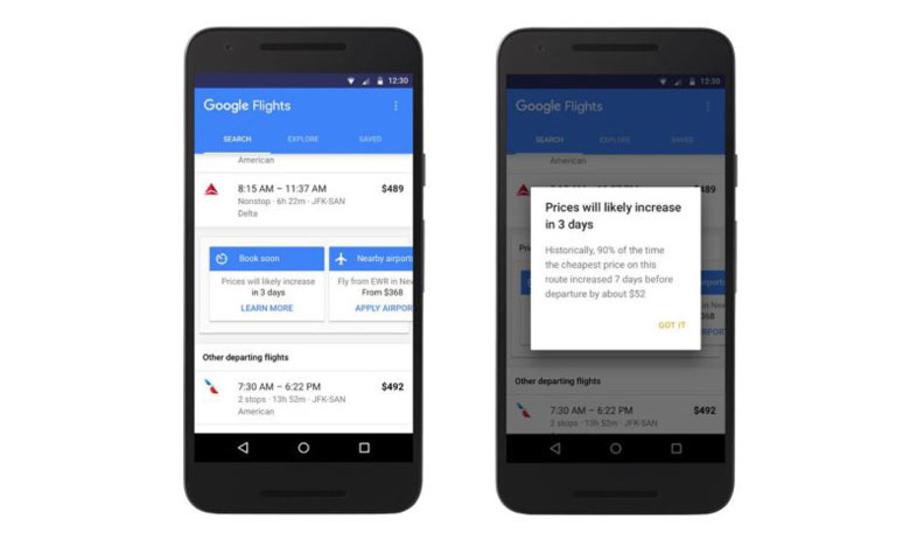 Googleフライトに「航空券買い時機能」が追加