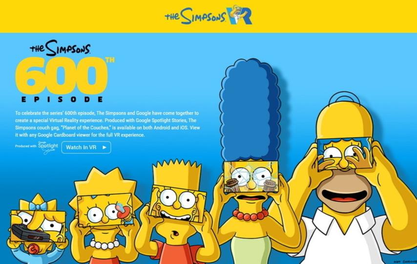 アニメ「ザ・シンプソンズ」のOPが放送600回を記念してVR仕様に!