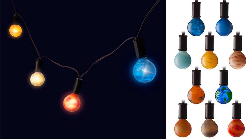 部屋を宇宙空間みたいにしよう。太陽系の惑星をイメージした電球が幻想的