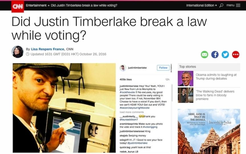 ジャスティン・ティンバーレイク、投票所からのうっかりセルフィーが大問題に