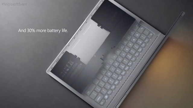 Microsoft 新型Surface Book バッテリー性能30%向上