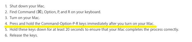 Apple サポート MacBook Pro NVRAMのリセット方法