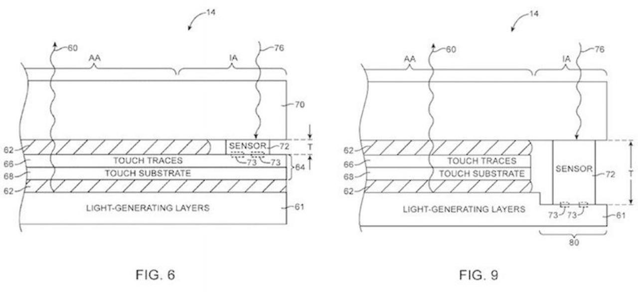 次期iPhone向け? Appleが光センサーをディスプレイ下に配置する特許を取得