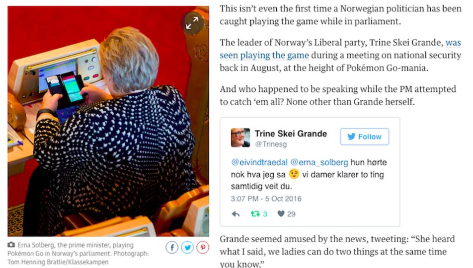 ノルウェーの首相、国会の最中にポケモンGO!