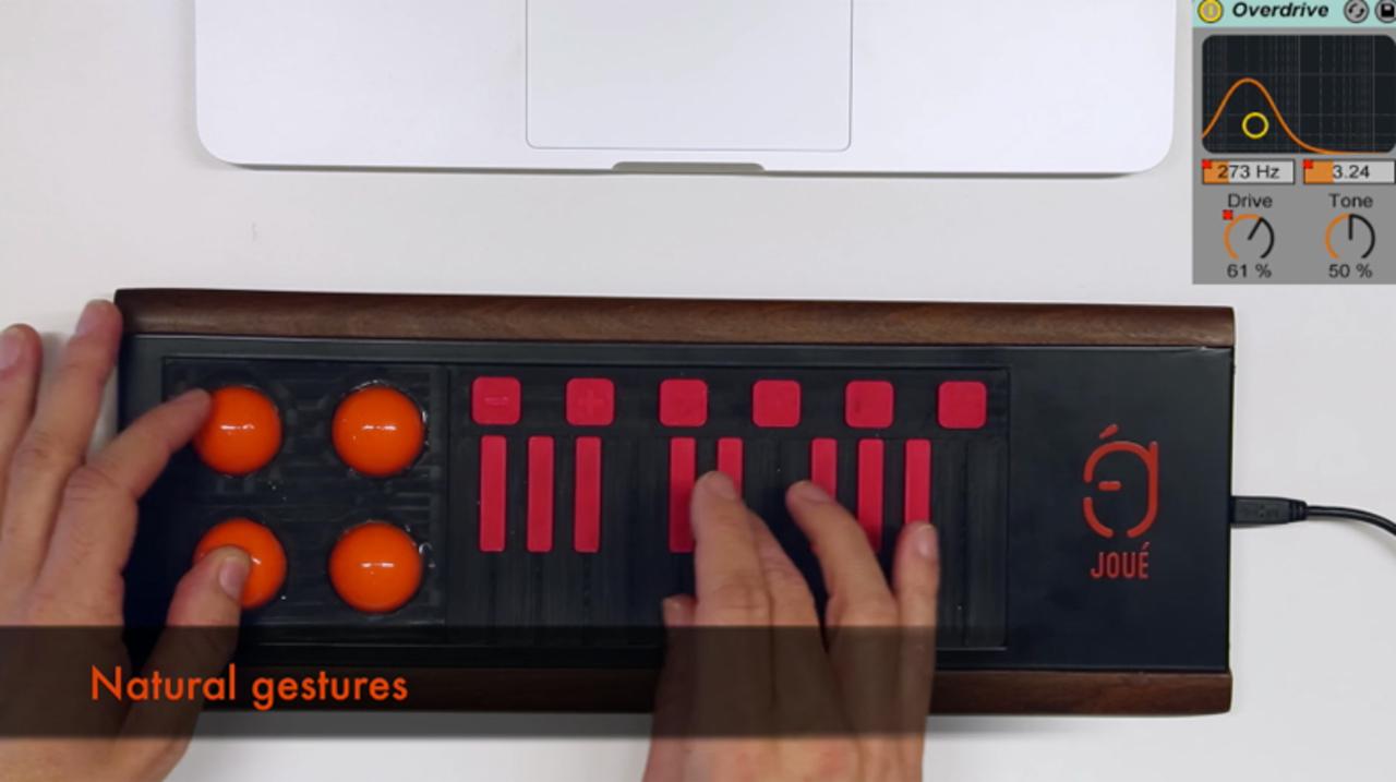 シートを取り換えて鍵盤やドラムパッドに変身するMIDIコントローラー「Joue」