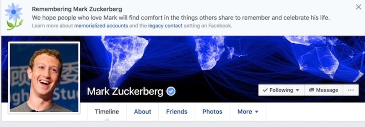 Facebook、マーク・ザッカーバーグCEOを「追悼」。その他200万人ものユーザーを死亡させる