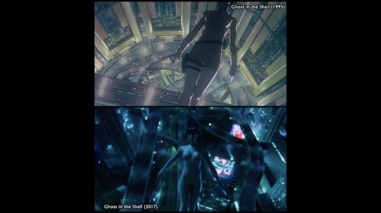 実写映画版『攻殻機動隊』を原作アニメの各シーンと並べて比較