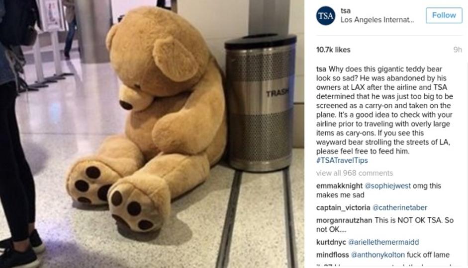 空港で見捨てられた大きなテディベア、TSAが冗談まじりにインスタ投稿→その後...