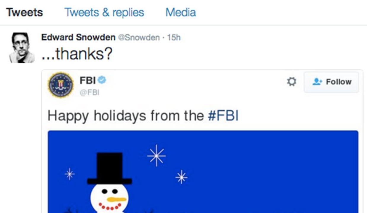 クリスマスの奇跡!エドワード・スノーデンとFBIがホリデーシーズンを祝う