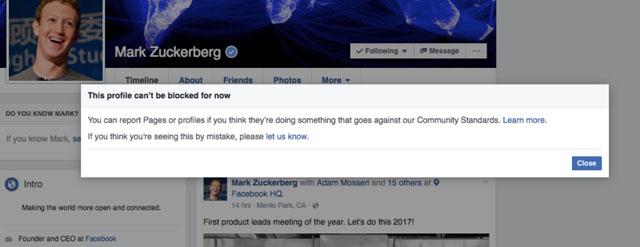 Facebook上で絶対ブロックできないアカウント、マーク・ザッカーバーグ2