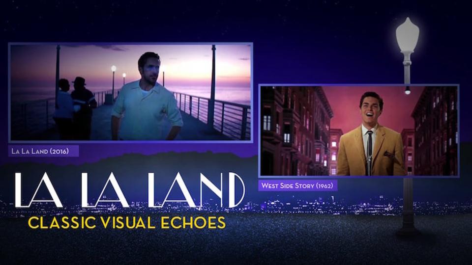 映画『ラ・ラ・ランド』のシーンと元ネタと思われるシーンを並べて比較