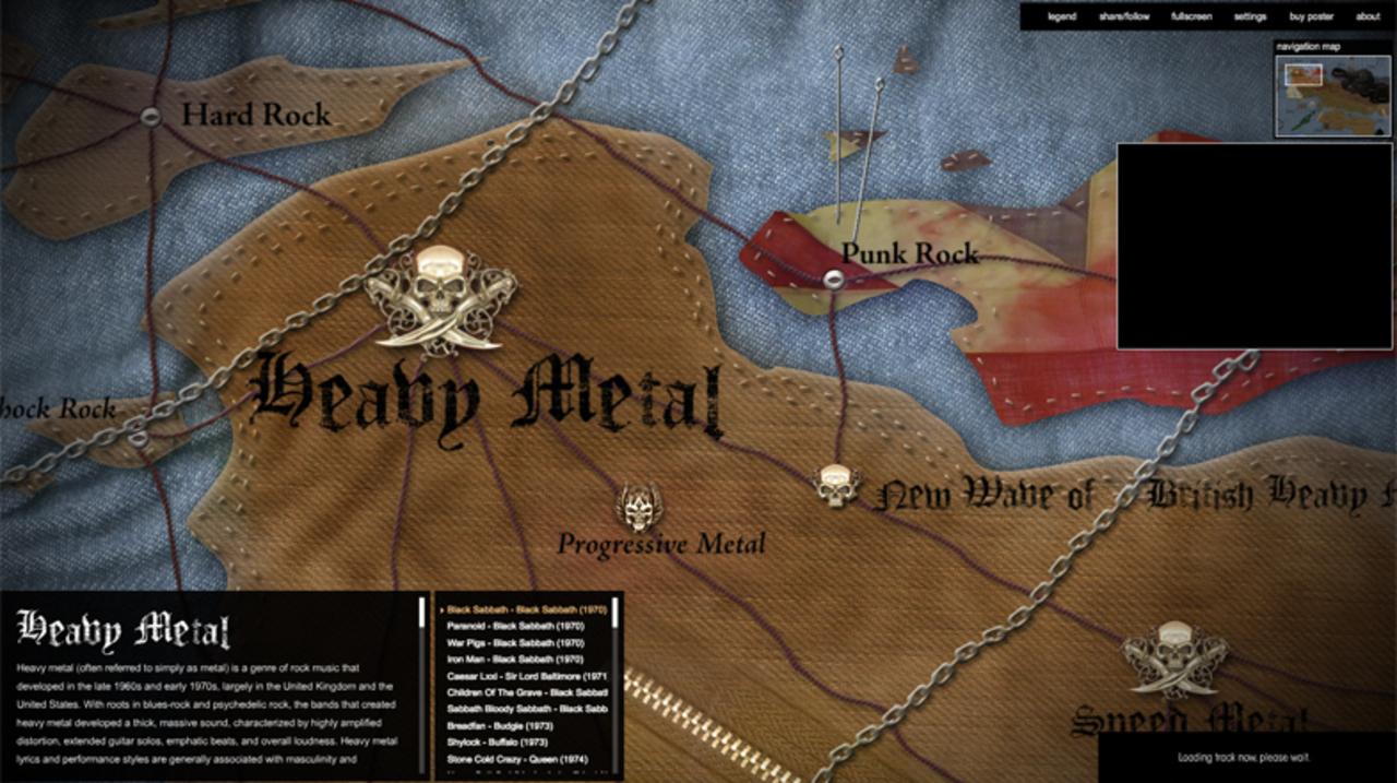 ヘヴィメタルのサブジャンルを大陸地図的に示したインフォグラフィック・マップ