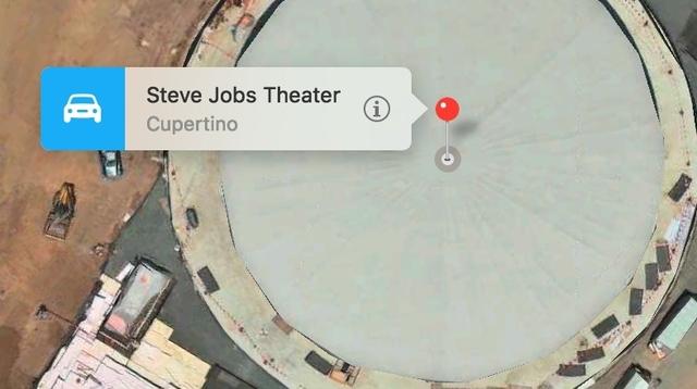 検索してみよう。Appleのマップに「Steve Jobs Theater」を見つけたよ!