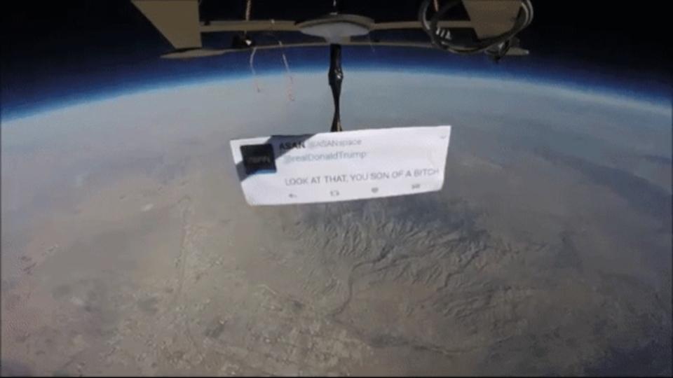わざわざ成層圏まで気球飛ばしてトランプ大統領にツイート、そのメッセージは…