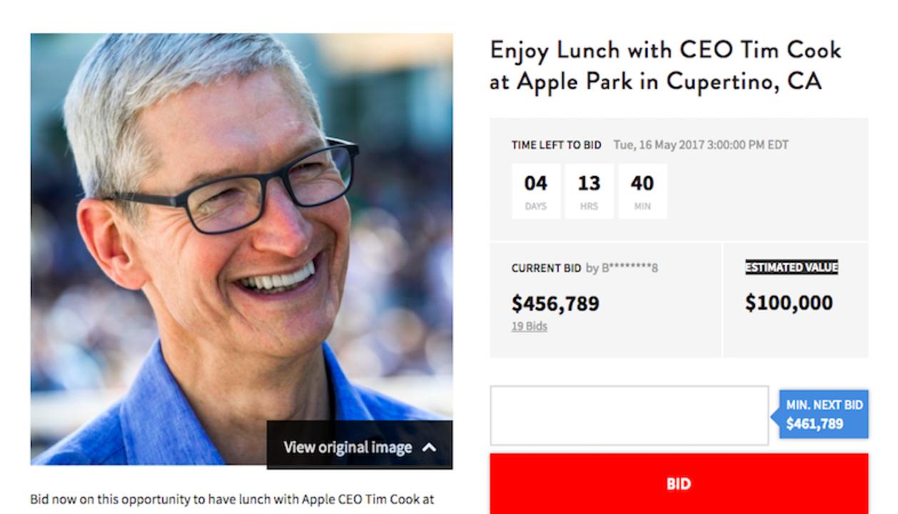 Apple CEOとのランチ権オークション、今年は新本社で!