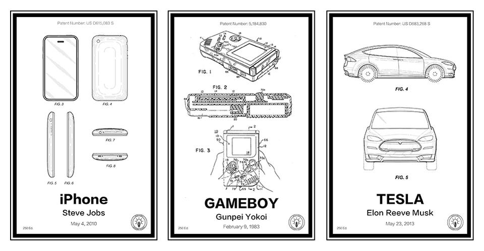 iPhone、ゲームボーイ、テスラ。テック系の特許がポスターになった(日本からも購入可)