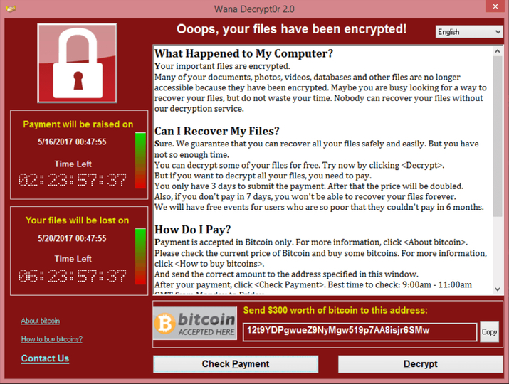 世界パニックのランサムウェア「WannaCry」被害&対処まとめ(日本語脅迫文は誤訳でおかしなことに)