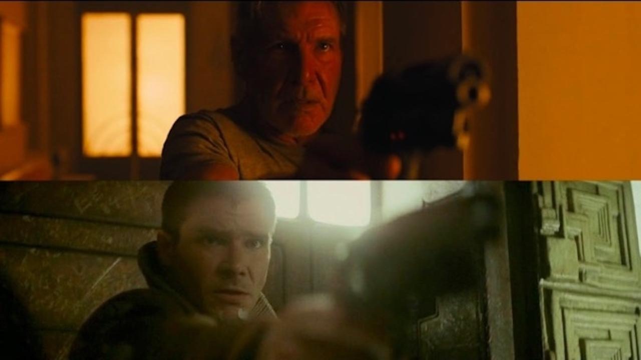 映画『ブレードランナー』と『ブレードランナー 2049』の映像を並べて比較。ビジュアルや空気感は共通しているものの……