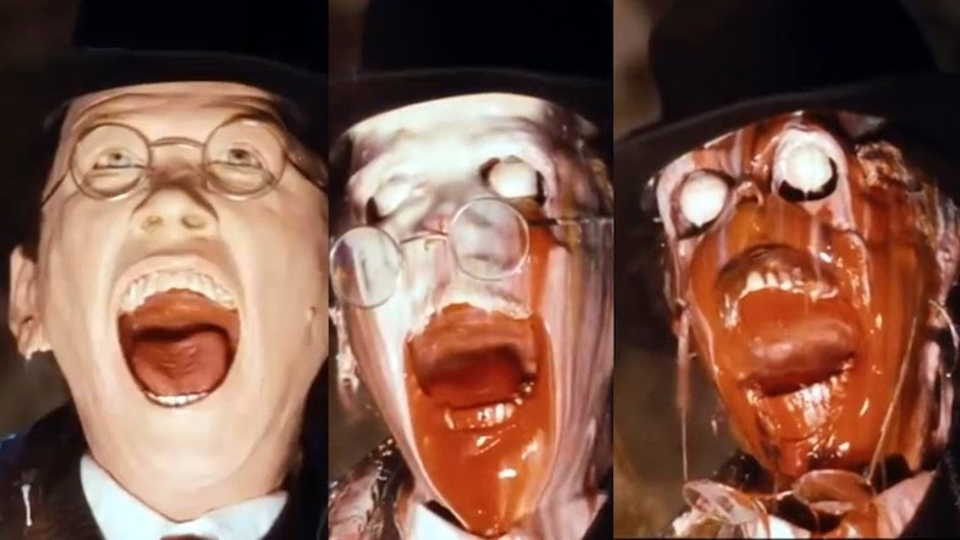 映画『レイダース』の顔面溶解シーンをスローモーションで楽しもう