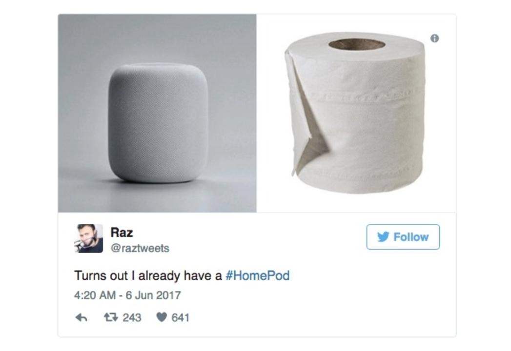 HomePodがトイレのアレだと、さっそくTwitterで大喜利開始 #WWDC17