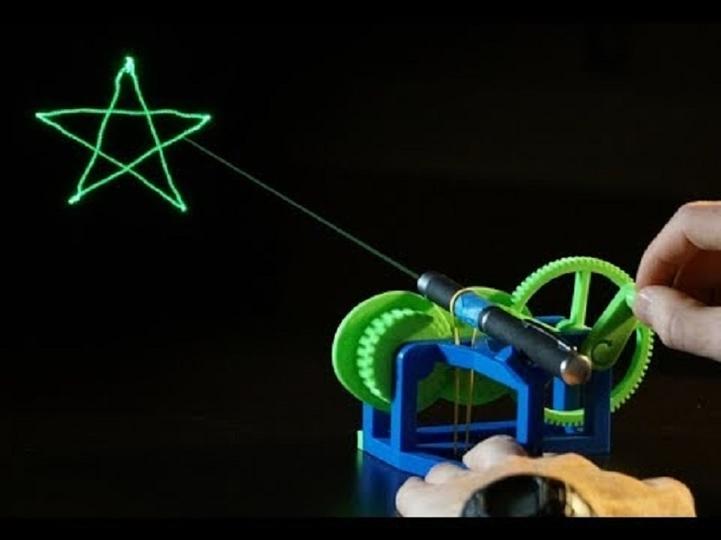 レーザーポインターの光で模様を作るプラスチック装置の裏には、ガチな数式が!
