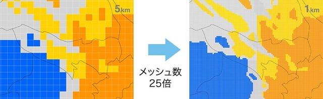 データ量が1,800倍に! ウェザーニュースタッチが1kmメッシュ&5分更新で天気を予測