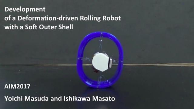 輪っかを変形させてコロコロ進むロボット