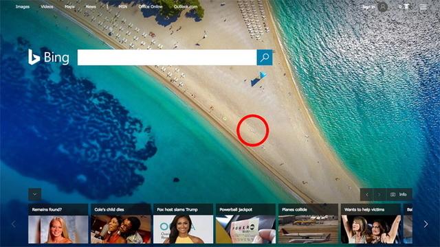 Bingのホームページにおトゥイントゥインが隠れていた