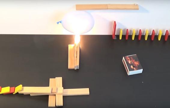 花火やマッチでピタゴラ装置。炎のドミノ倒し動画が熱い