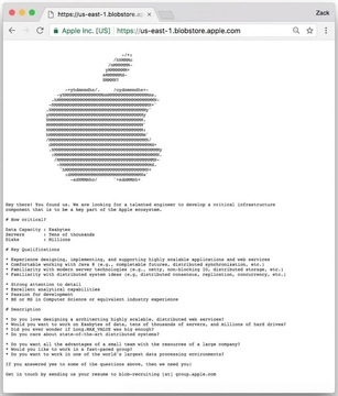Apple、隠しWebページに「重要なポストの求人」を仕込む