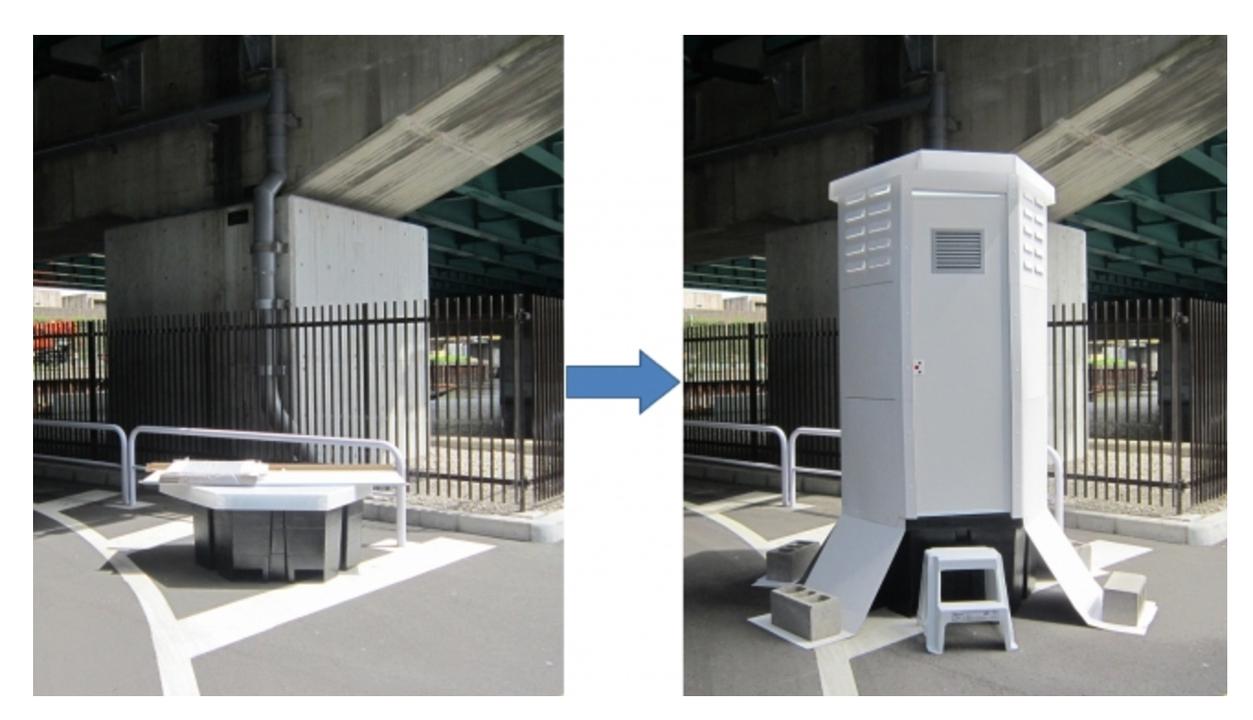 緊急事態に備えて「トイレの備蓄」を実現する紙製仮設トイレ