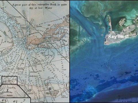 240年前と現在の海図からサンゴ礁の劇的な変化が見えてきた