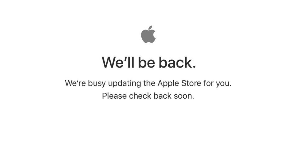 AppleオンラインストアがWe'll be back! 今夜の発表をしばし待て!