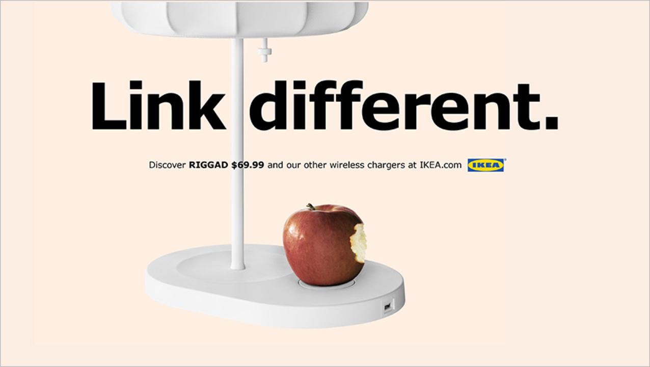 iPhone 8をバリバリ意識したIKEAのワイヤレス充電の広告