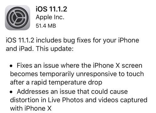 「iOS 11.1.2」アップデートが配信開始。iPhone Xの寒所での画面問題を解決