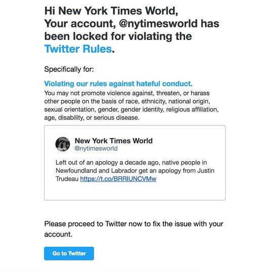 Twitterが誤ってNew York Times Worldのアカウントを24時間凍結。原因は社員のミス