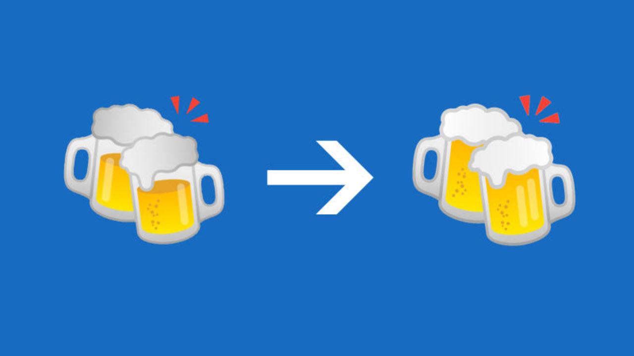 Googleのビールとハンバーガーの絵文字、より現実的な絵に修正される