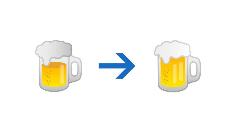 googleのビールとハンバーガーの絵文字 より現実的な絵に修正される