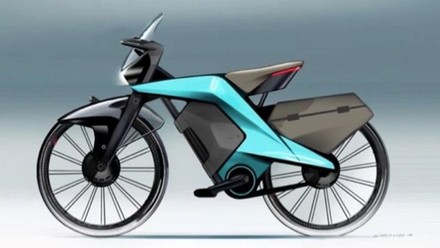 バイクじゃないよ。ぼくの考えたさいこうにあんぜんな電動自転車です。