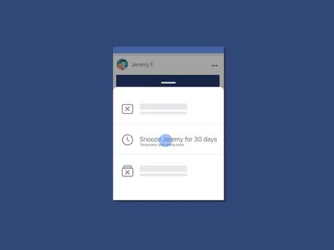 Facebook、うるさい友達を30日間シャットアウトするスヌーズボタンを導入